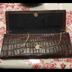 Vince Camuto crocodile print leather clutch